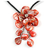Large Red Shell Flower Pendant with Black Faux Leather Cord Necklace - 44cm/ 4cm Ext/ 12cm Front Drop