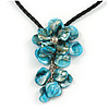 Blue Shell Flower Pendant with Black Faux Leather Cord Necklace - 44cm/ 4cm Ext/ 10cm Front Drop