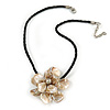 Large Anttique White Shell Flower Pendant with Black Faux Leather Cord - 40cm L/ 4cm Ext