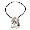 Antique White Shell Flower Pendant with Black Faux Leather Cord Necklace - 46cm/ 8cm Front Drop