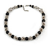Black Ceramic Bead and Silver Tone Decorative Element Necklace - 46cm L/ 6cm Ext