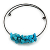 Chunky Semiprecious Stone Cluster Pendant with Flex Wire Choker Necklace (Blue/ Black) - Adjustable