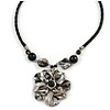 Grey Sea Shell Flower Pendant with Black Faux Leather Cord In Silver Tone - 44cm L/ 6cm Ext