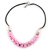 Light Pink Coin Shell Bead Cluster with Black Faux Leather Cord Necklace - 54cm L
