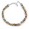 Statement Chunky White/ Bronze/ Light Brown Glass Bead Collar Style Necklace - 44cm L/ 5cm Ext