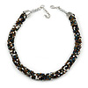 Statement Chunky Black/ White/ Bronze/ Peacock Glass Bead Collar Style Necklace - 44cm L/ 5cm Ext