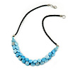 Light Blue Coin Shell Bead Cluster with Black Faux Leather Cord Necklace - 54cm L