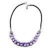 Romantic Purple Shell Black Faux Leather Cord Necklace - 53cm Long