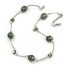 Stylish Green Glass/ Shell Bead and Textured Metal Bar Necklace In Silver Tone - 40cm L/ 5cm Ext