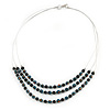 3 Strand Teal/ Black Glass Bead Wire Layered Necklace - 58cm Long