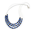 3 Strand Blue/ Black Glass Bead Wire Layered Necklace - 58cm Long