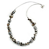 Grey Shell Nugget, Glass Bead Wire Necklace in Silver Tone - 60cm L