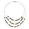 3 Strand White/ Brown/ Black Shell and Ceramic Bead Wire Layered Necklace - 60cm L