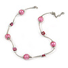 Pink Shell and Glass Bead Necklace In Silver Tone Metal - 42cm L/ 5cm Ext