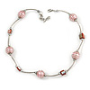 Stylish Light Pink Glass/ Shell Bead and Textured Metal Bar Necklace In Silver Tone - 40cm L/ 5cm Ext