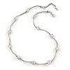 Delicate Transparent Glass Bead with Silver Bar Necklace - 47cm L/ 5cm Ext