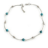 Delicate Ceramic and Acrylic Bead Necklace In Silver Tone (Light Blue) - 45cm L/ 4cm Ext
