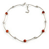 Delicate Ceramic and Acrylic Bead Necklace In Silver Tone (Burnt Orange) - 45cm L/ 4cm Ext