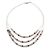 3 Strand Purple/ Orange/ Black Acrylic Bead Wire Layered Necklace - 60cm Long