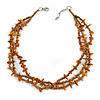 3 Strand Bronze Glass Beads, Burnt Orange Sea Shell Nuggets Necklace - 42cm L/ 3cm Ext