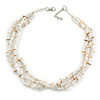 3 Strand White Glass Bead, Natural Sea Shell Necklace - 43cm L/ 4cm Ext