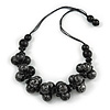 Chunky Wood Bead Cotton Cord Necklace (Black/ Silver) - 66cm L