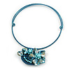 Light Blue/ Teal Shell Component, Acrylic Bead Floral Pendant Flex Wire Choker Necklace - Adjustable