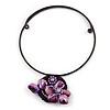 Purple Shell Flower Flex Wire Choker Necklace - Adjustable