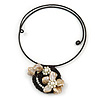 Antique White Shell Flower Flex Wire Choker Necklace - Adjustable