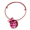 Fuchsia Pink Shell Component, Acrylic Bead Floral Pendant Flex Wire Choker Necklace - Adjustable