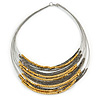 Multistrand Layered Wire Glass and Acrylic Bead Necklace In Silver Tone (Grey/ Gold) - 56cm L