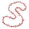 Long Peony Pink Shell/ Transparent Glass Crystal Bead Necklace - 120cm L