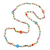 Long Pastel Multicoloured Shell Nugget, Ceramic and Glass Crystal Bead Necklace - 116cm L