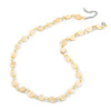 Pastel Yellow Coin Shell and Crystal Glass Bead Necklace with Silver Tone Closure - 56cm L/ 5cm Ext