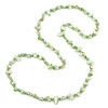 Long Celery Green Shell/ Light Green Glass Crystal Bead Necklace - 120cm L