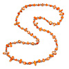 Long Orange Shell/ Transparent Glass Crystal Bead Necklace - 120cm L