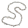 Long Light Grey Shell Nuggets/ Glass Crystal Bead Necklace - 120cm L