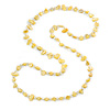 Long Daffodil Yellow Shell/ Transparent Glass Crystal Bead Necklace - 120cm L
