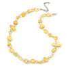 Delicate Butter Yellow Sea Shell Nuggets and Glass Bead Necklace - 48cm L/ 7cm Ext