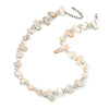 Delicate Off White Sea Shell Nuggets and Transparent Glass Bead Necklace - 48cm L/ 7cm Ext