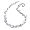 Delicate Pale Lavender Sea Shell Nuggets and Glass Bead Necklace - 48cm L/ 7cm Ext