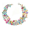 3 Row Pastel Multicoloured Shell And Glass Bead Necklace - 45cm L
