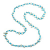 Long Arctic Blue Shell/ Light Blue Glass Crystal Bead Necklace - 120cm L