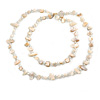 Long Off White Shell/ Transparent Glass Crystal Bead Necklace - 110cm L