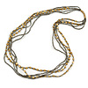 Long Multistrand Grey Glass and Gold Acrylic Floral Bead Necklace - 100cm L