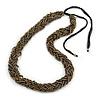 Multistrand Plaited Beaded Necklace (Grey/ Bronze) - 44cm L