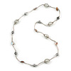White Shell and Glass Bead with Wire Detailing Necklace In Silver Tone Metal - 70cm L