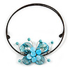 Light Blue Sea Shell Butterfly Pendant with Flex Wire Choker Necklace - Adjustable