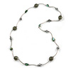 Green Shell and Glass Bead with Wire Detailing Necklace In Silver Tone Metal - 70cm L
