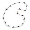 Purple Semiprecious Stone Necklace In Silver Tone Metal - 66cm L